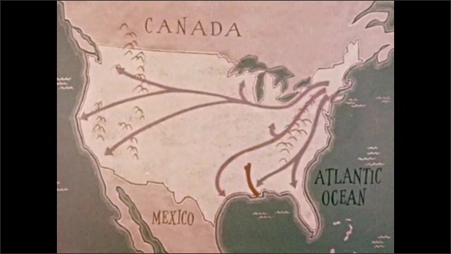 1950s: Animated lines move across map of United States of America. Train steams across landscape.