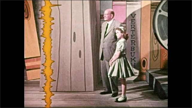 1950s: Animation of soundtrack moves on screen. Girl and man watch soundtrack, track disappears, reappears next to electronic equipment.