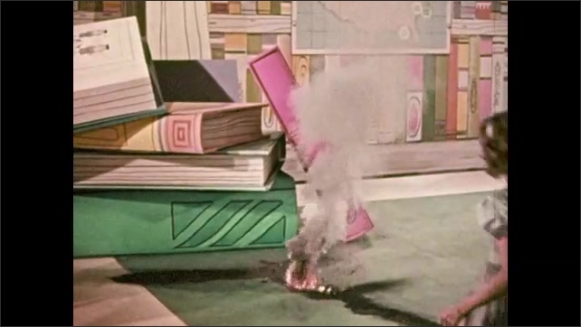 1950s: Man and girl look at gunpowder burning on floor, girl runs over to powder, powder explodes, smoke fills the air, girl stands with hands over her face.