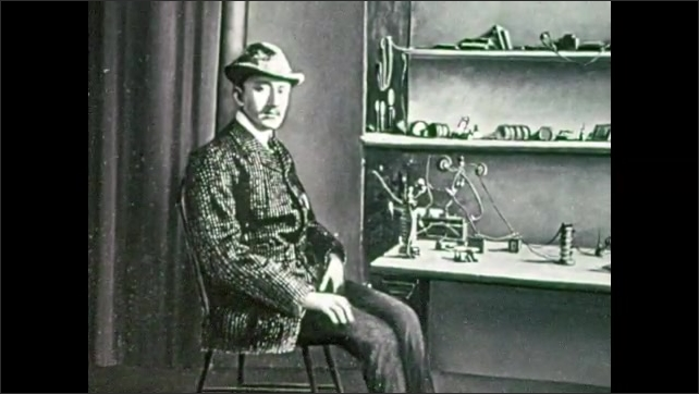 1950s: Images of Alexander Graham Bell next to first telephone, Thomas Edison next to phonograph, Guglielmo Marconi next to radio. Man and girl talk.