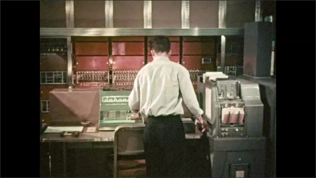 1950s: Woman with large hat over her head places board on ground, man and girl walk over board. Man loads stack of paper into machine, presses buttons.