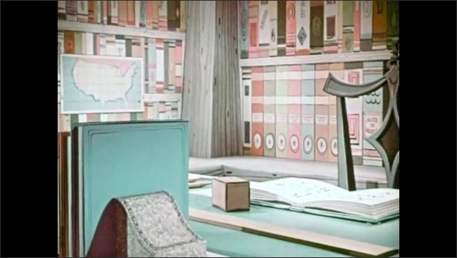 1950s: Girl wakes up in oversized, cartoon version of the study. Little girl climbs on to oversized book, dwarfed by set.