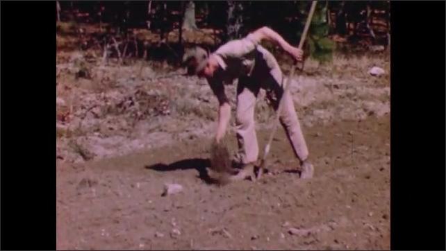 1950s: Man raking soil. Man throws powder on soil.