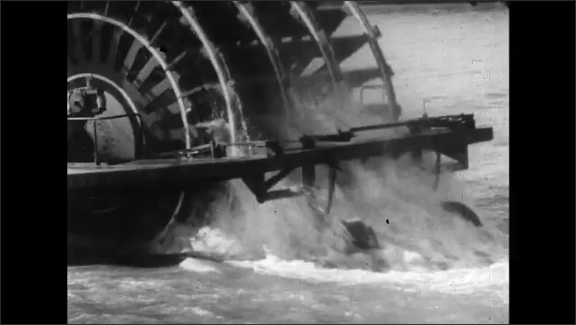 1960s: View of river and boat from on top of a boat. Boat on river. Boat turbines. Man sings directly into microphone while holding it. Man continues to perform on stage.