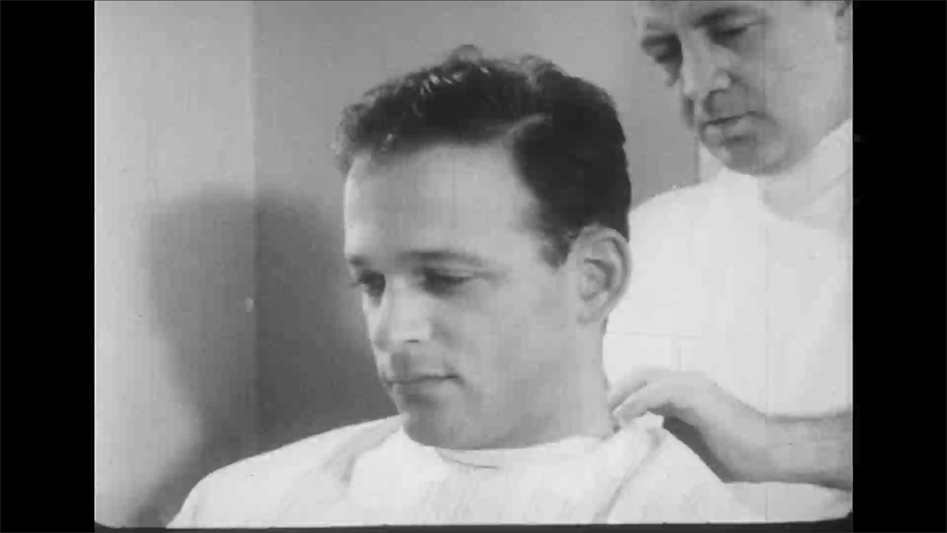 UNITED STATES 1950s: Barber cuts man's hair / Close up, man in chair / Beauty shop interior, man shakes girl's hand, girl sits in chair.