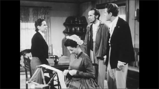 1940s: Man enters room. Boy speaks. Man speaks.