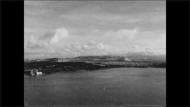 1950s: Golden Gate bridge spans the San Francisco Bay. City of San Francisco.