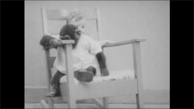 1930s: Baby boy and baby chimp climb on to rocking chair two times.