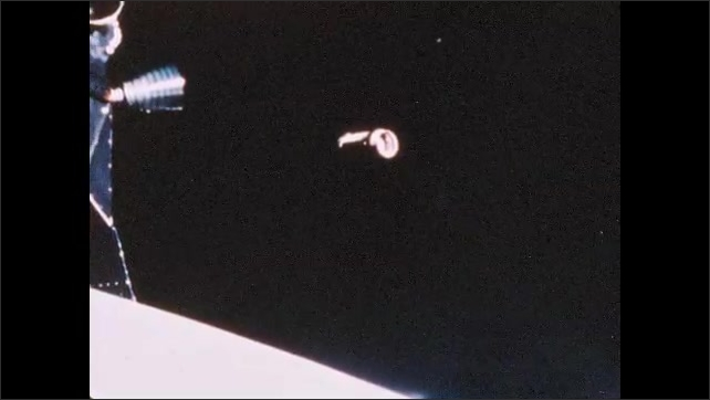 1960s: Rocket capsule in space. Earth from space. The moon from space.