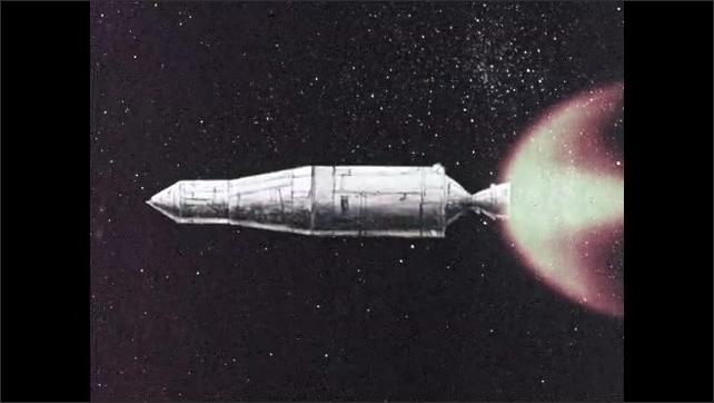 1960s: Parts detach from rocket. Rocket boosters fire. Rocket flies through space.