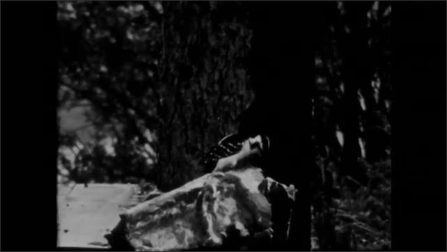 1940s: bird on log, bird on empty branch at treetop, small bird on ground, another bird in treetop