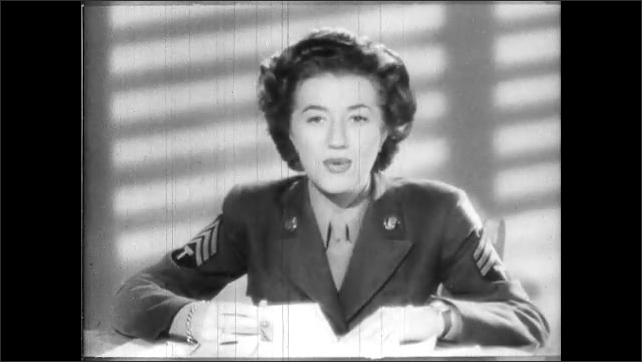1940s: Woman looks down front of dress. Waiter looks at woman. Female soldier sits behind desk and speaks. Female soldier reads from letter.
