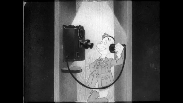 1940s: Spies follow Private Snafu. Japanese spy and other ethnic stereotyped spies pop out of background. Private Snafu talks on phone. Japanese spy is in phone, German and Italian listen too.