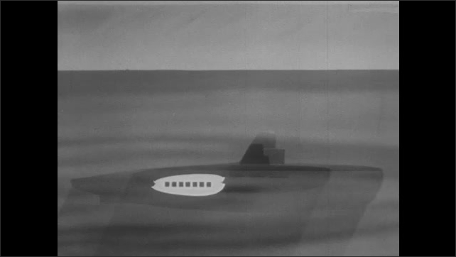 1950s: Animation of fully submerged submarine and it's batteries compared to snorkel submarine and submarine on the surface.