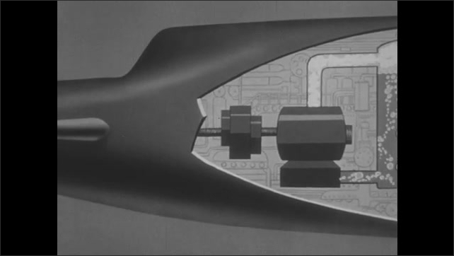 1950s: Animated diagram of nuclear power reaction powering submarine and propelling it forward. Question mark appears over nuclear engine.