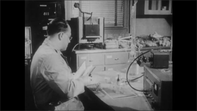 1950s: UNITED STATES: close up of scientific apparatus in lab. Man writes notes in book. Man drives tractor on farm.
