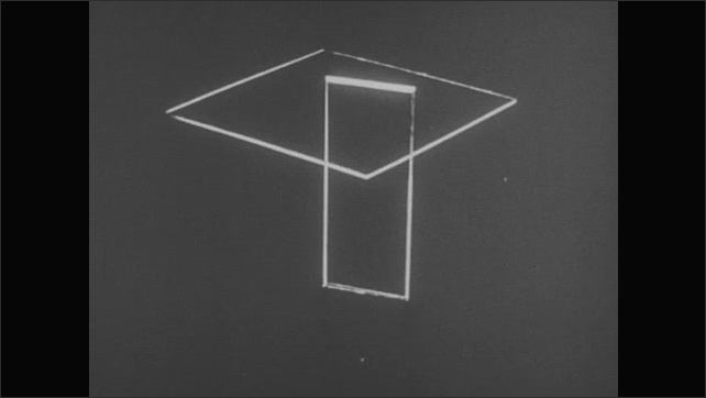 1950s: UNITED STATES: planes of object drawn on paper. Diagram of principal views, angles, and planes