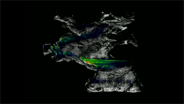 1990s: UNITED STATES: computer animation of currents flowing across planet.