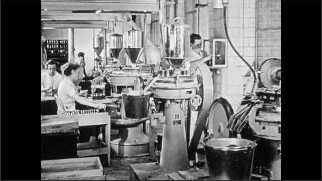 1940s: Women work in factory bottling pills. Woman fills bottles with pills. Woman at work on large, factory loom.