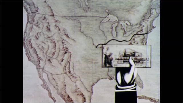 1960s: Map of the United States of America. Line depicting railway line snakes across US from East Coast. Image of train on railway line. Hand holds up money. Lines depict additional railway lines.