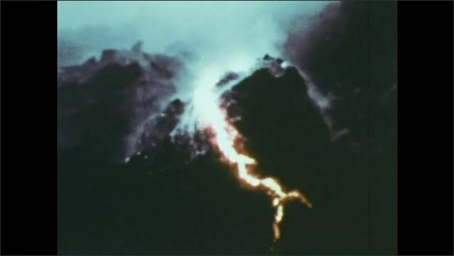 1970s: Underwater volcanic eruption. Fiery lava vents and metamorphoses into lava pillow lava.