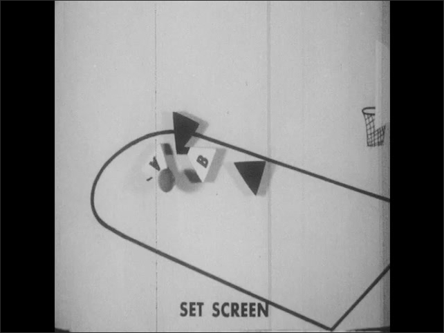 1960s: Animated triangles illustrate the movements of a screen play.