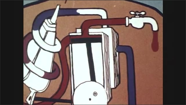 1970s: UNITED STATES: animation of circulation system as machine. Blood pumped around heart.