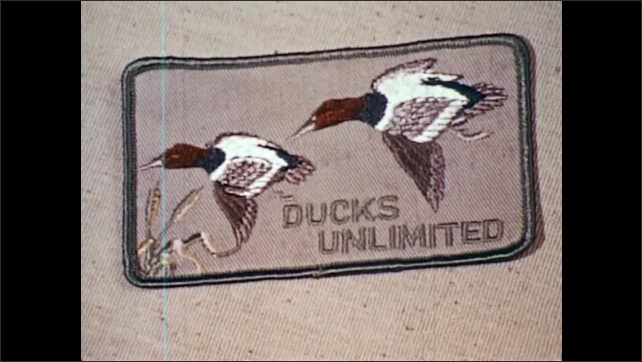 1960s: Man writes in booklet. National Wildlife Federation patches. Ducks Unlimited patches. Men browse gun at gun store.
