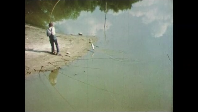 1950s: man in overalls removes small fish from hook on boat with boy. fisherman uses pole to land carp on shore. dad baits worm and smokes pipe at waterfalls. bobber sits in water.