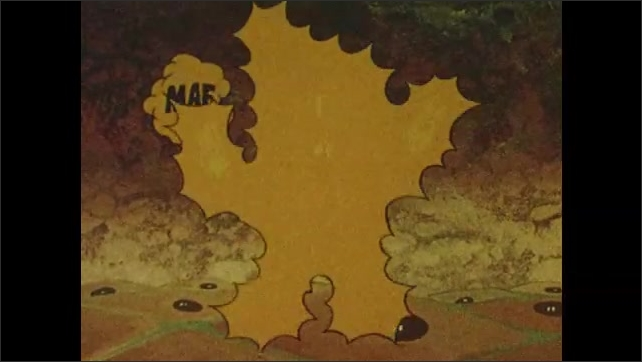 1980s:  UNITED STATES: cartoon animation of t-cell messenger cell activating immune response