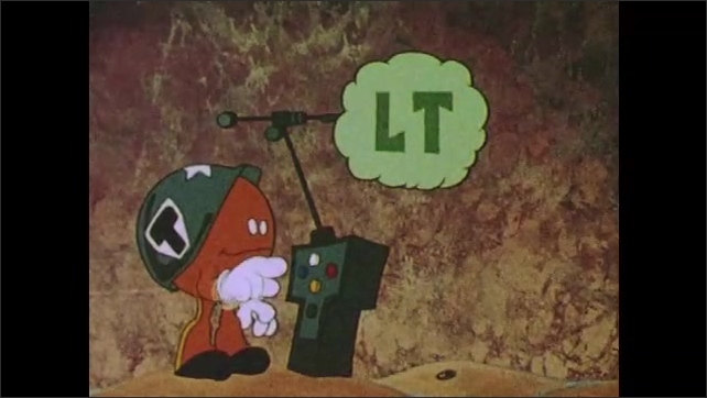 1980s:  UNITED STATES: suppressor cell cartoon character produces lymphtoxin. Destruction of virus cells