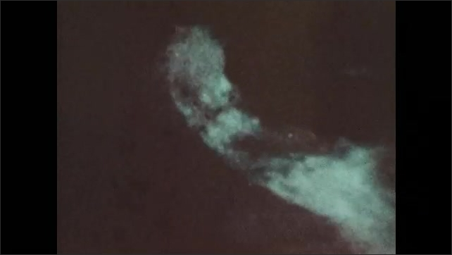 1970s: A bird flies over a river and dives into the water. A person swims in the dark, the water glows and swirls.