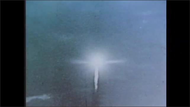 1960s: Space shuttle launch. Rocket takes off. Sputnik 1 satellite.