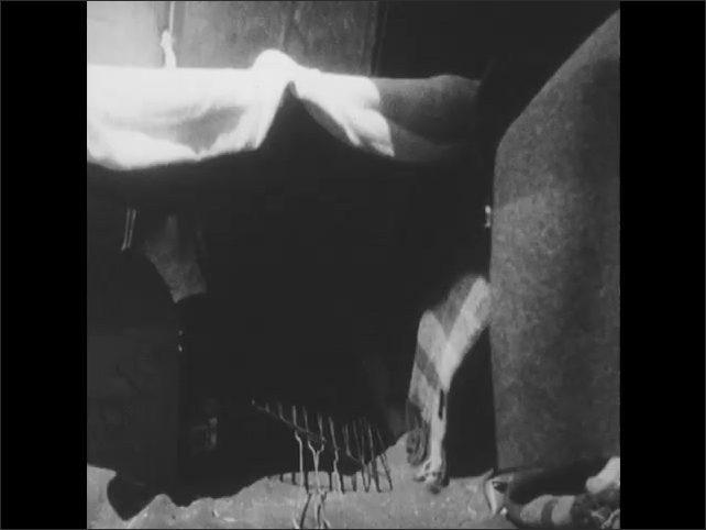 1950s: Two black bear cubs go through camper's personal belongings. Bear wraps itself in blanket.