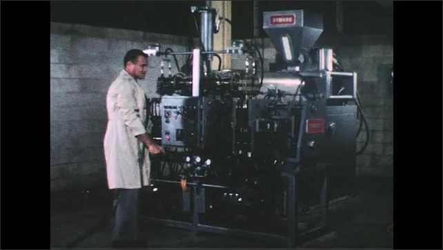 UNITED STATES 1950s: Close up, molding machine forms plastic bottles, hands take bottles / Worker next to machine / Worker takes bottles from machine.