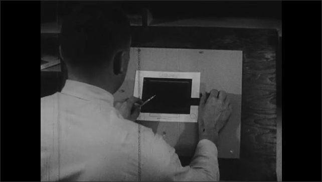 1960s: Man types on typewriter. Word on paper in typewriter: Presents. Man in front of monitor touches screen with pen, words appear: blueprint for educational graphics.