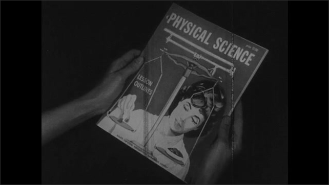 1960s: Man works on illustration of woman placing object on scale. Illustration is now on cover of magazine. Person flips through magazine.