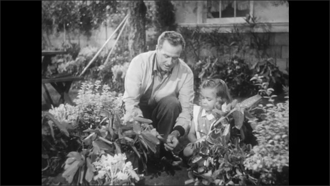 UNITED STATES 1950s: Man talks to girl in garden while crouched down/ man holds girls hand / Man and girl walk in garden/ Girl sits on bench