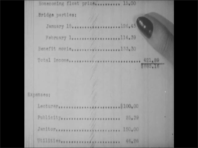 1950s: UNITED STATES: lady holds treasurer report in hand.