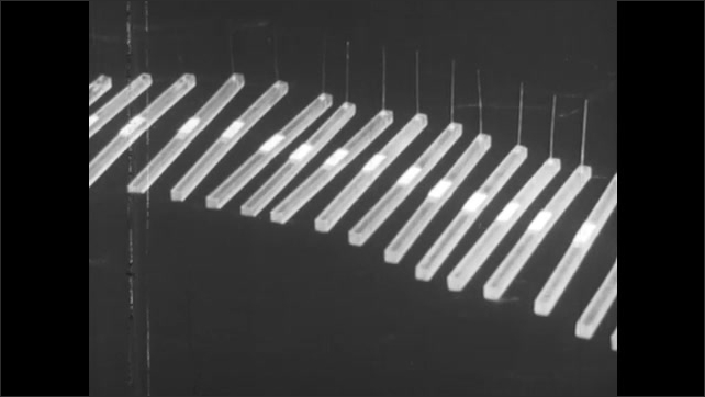 1950s: UNITED STATES: patient with parietal lobe damage. Nylon bristles of different thickness. Patient feels touch.