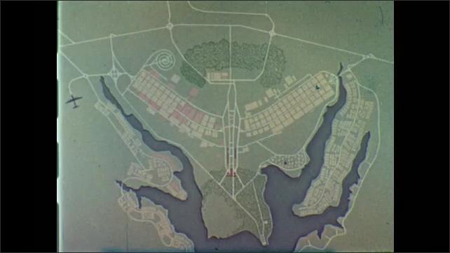 1950s: Map. Modern building.  Sculpture.