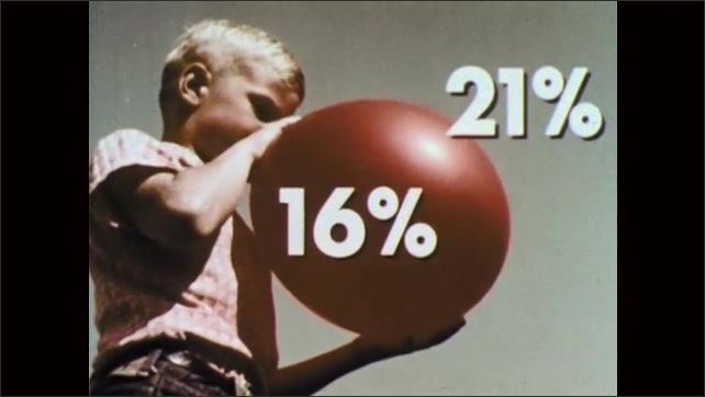 1960s: UNITED STATES: boy blows up balloon. Exhaled air content and percentage.
