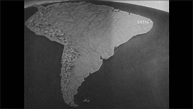 1940s: Iris out, view of sunrise over palm trees. Animated map of South America, light extends over map, zoom in to city on map.