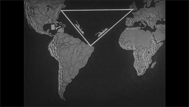 1940s: Animated global map with triangle over Atlantic ocean, circle is drawn over Caribbean, circle is drawn over coast of South America.