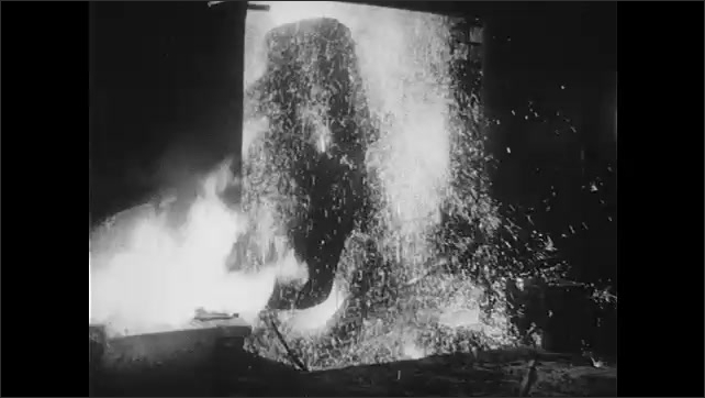 1940s: River rapids. Hot, liquid metal pours into vat in factory. Men pour liquid metal from vat into mold. Man in factory signaling instructions.