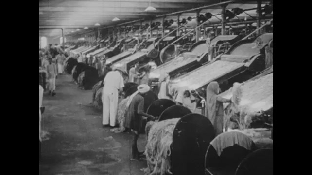 1940s: UNITED KINGDOM: EUROPE: worker in factory in India. Textile industry in India. Flag in India. People attend prayer.