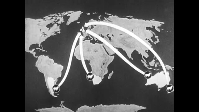 1940s: UNITED KINGDOM: map shows import of materials to Britain. Arrows on map