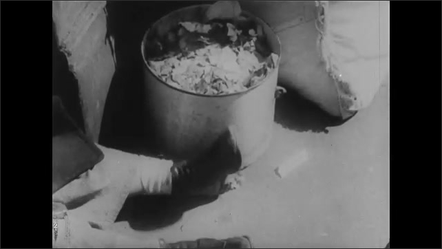1930s: Woman sitting on steps, view of woman's legs. Kids playing on sidewalk. Foot next to garbage can. View of garbage can. Woman with hands on chest.