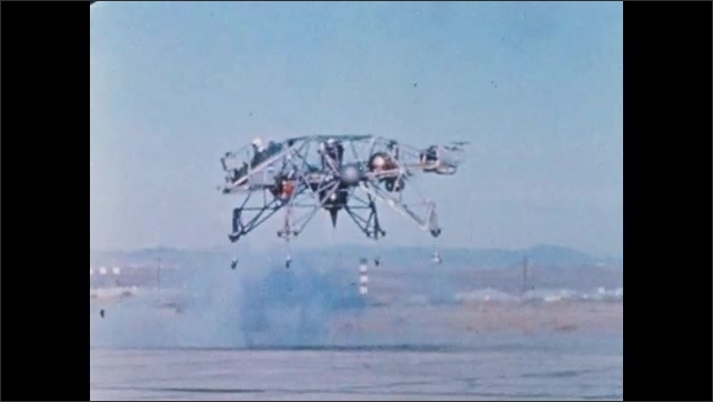1960s: Man parasails into the air. Man pilots chair. Aircraft takes off from ground. Men raft down river. Men train in zero gravity.