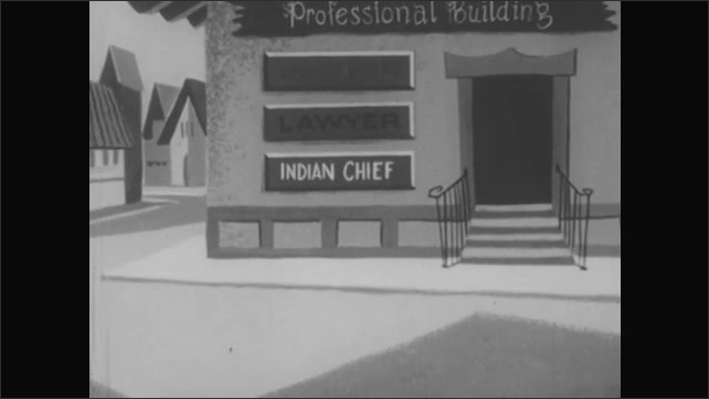 1950s: UNITED STATES: side profile of baker in hat. Man speaks to baker. Doctor speaks to baker. Indian Chief with feather in band. Man in street